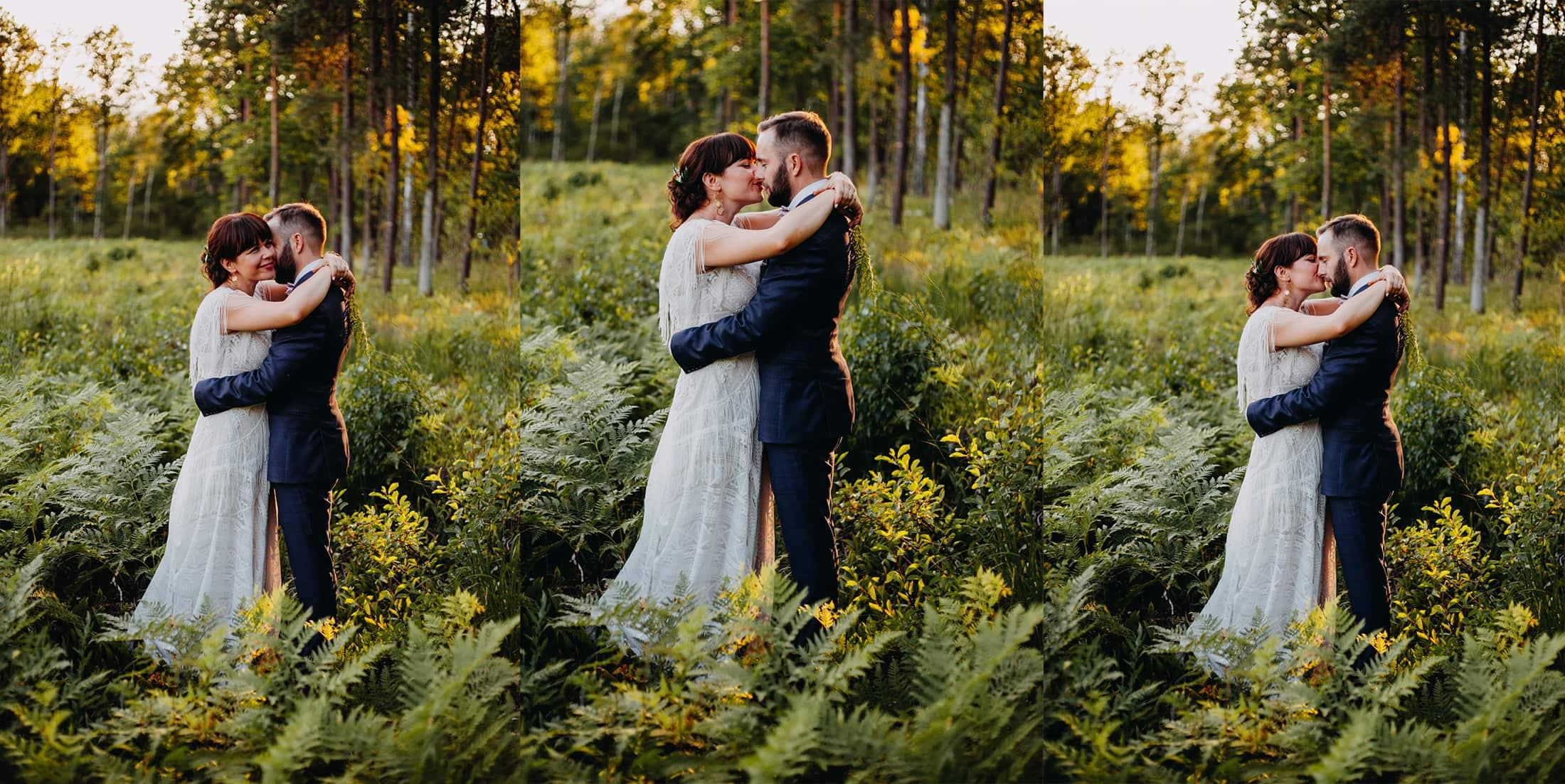 Sesja ślubna w szklarni o zachodzie słońca
