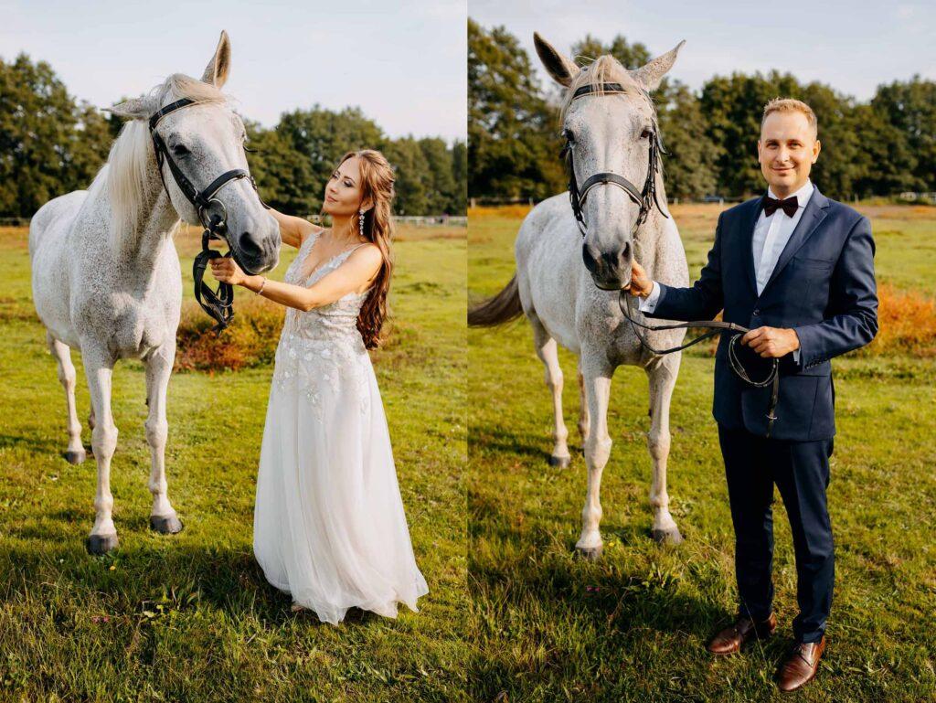 Sesja ślubna z końmi Stajnia Klucz pod Warszawą