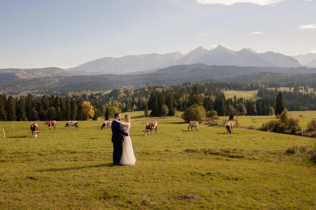 Łapszanka sesja ślubna z Tatrami w tle